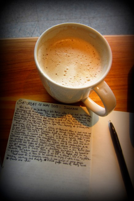 relaxing with a latte and my journal