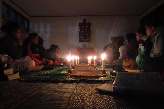 Worship at the retreat.