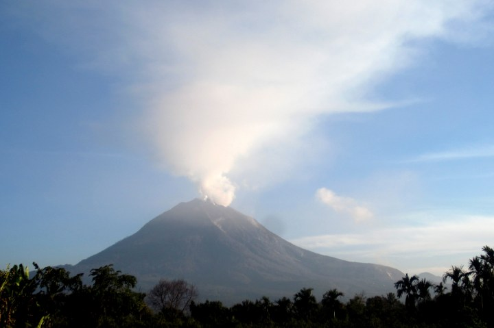 Mt. Sinabung Volcano from a village outside of Kabanjahe in North Sumatra, Indonesia.