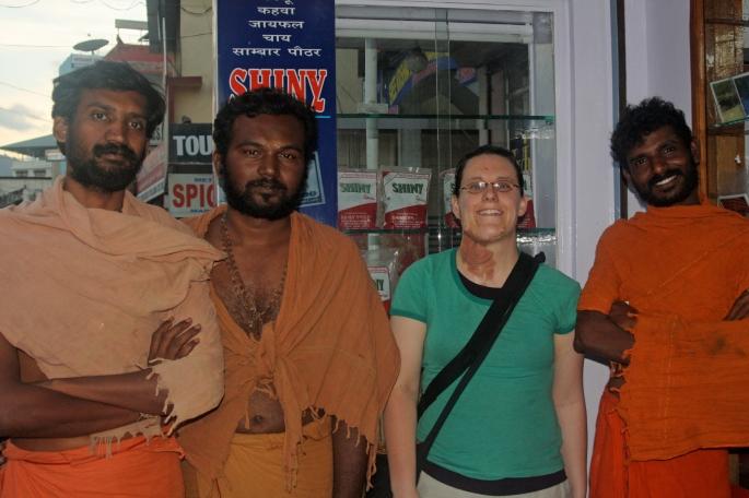 Meeting Krishna (far right) and his companions.
