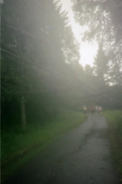 A few runners ahead.