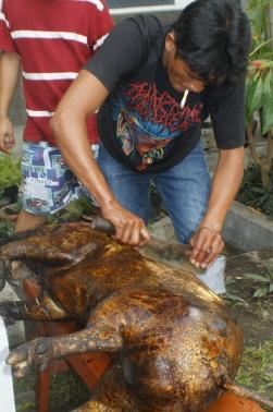 Scraping off the skin of pig, preparing to make saksang.