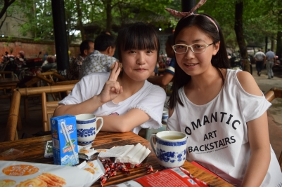 Tea time, host sister (R) and friend