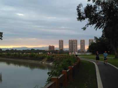 QingLong Lake walking trail, near the Chengdu University Campus