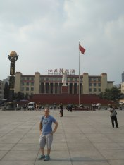 Tianfu Square with Mao statue in Central Chengdu