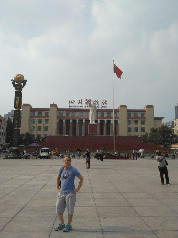 Tianfu Square with Mao statue in Central Chengdu