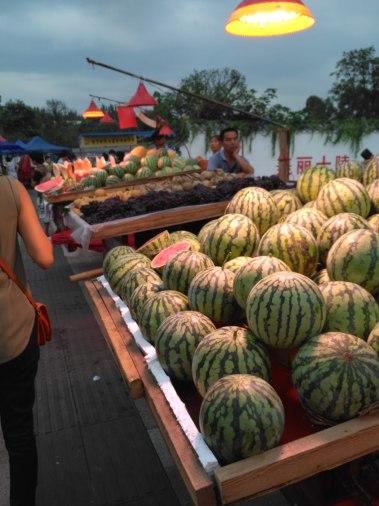 Fruit at the evening street market near Chengdu University