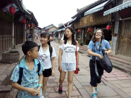 Enjoying Luodai, a touristy ancient town