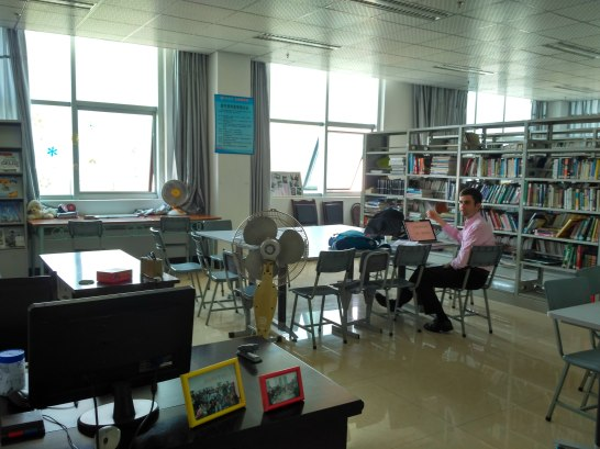 The Bookend. This was a project of a previous volunteer--a library of English books and space to have English Corner, a time for students to practice English outside the classroom.