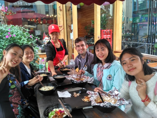 Lunch with students after the food festival bust