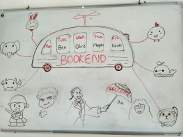 Students drew this on the whiteboard outside the Bookend office.