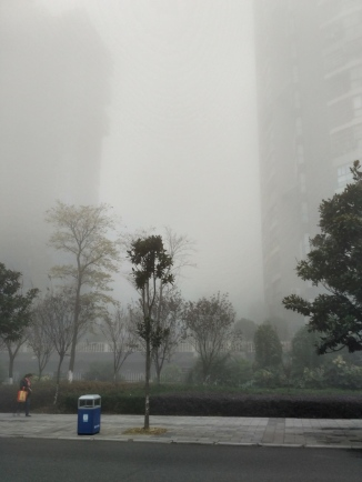 A smoggy+foggy morning at the bus stop