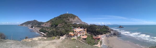 Panorama with Jesus statue on the hill, Vung Tau, Vietnam