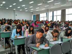 Students at Mianyang Teachers College participating in the Write On Competition.