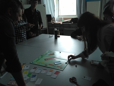 Teaching Monopoly to the students.