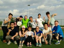 Ultimate frisbee with friends at another college