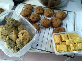 My baking extravaganza: banana oat muffins, chocolate chip cookies, and lemon bars.