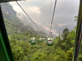 Riding down one section of the cable cars
