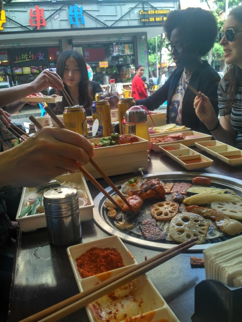 Eating bbq in China