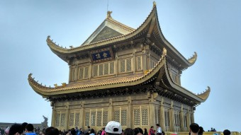 Temple from the summit at Mt Emei.